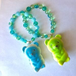 🦄Squishy Bear Charm Bracelet Glass Cosmo Beads